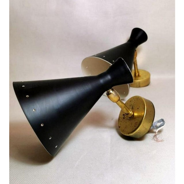 Mid-Century Modern 1960s Stilnovo Style Italian Diabolo Model Brass Sconces - a Pair EU Wired For Sale - Image 3 of 13
