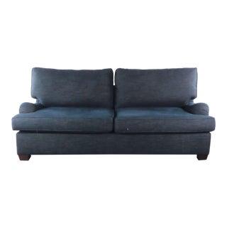 Pottery Barn Blue Upholstered Sleeper Sofa For Sale