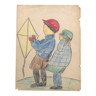 Evelyn Underwood Kite Fliers Drawing For Sale