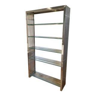 Vintage Deco Style Steel Bookcase For Sale