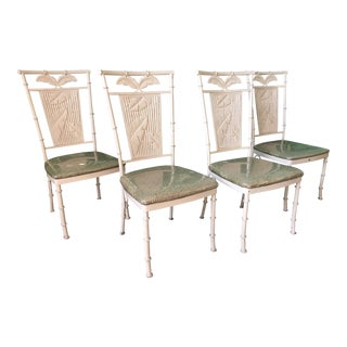Set of Four Metal Faux Bamboo Palm Tree Chairs For Sale