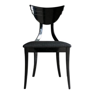 Black Lacquer Italian Neo Art Deco Desk Chair For Sale