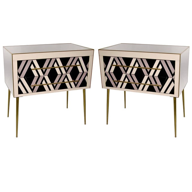 1990 Italian Graphic Pair of Geometric Black White Rose Gray Chests/ Side Tables For Sale - Image 9 of 9