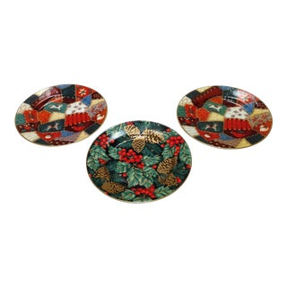 Fitz and Floyd Porcelain Christmas Plates - Set of 3 For Sale