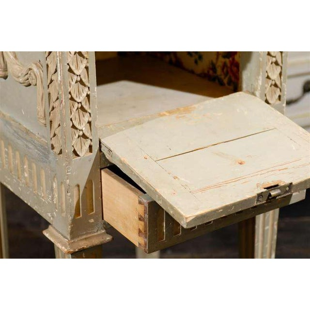 French Drop-Front Nightstand Table on Casters and Marble Top For Sale In Atlanta - Image 6 of 11