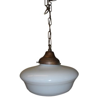 20th Century American School Globe Hanging Light - Pair For Sale