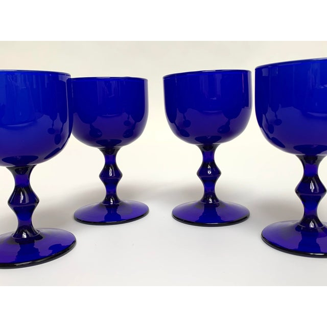 Final Markdown 1960s Carlo Moretti Mid Century Modern Blue and White Cased Glass Wine Goblets - Set of 4 For Sale - Image 12 of 13