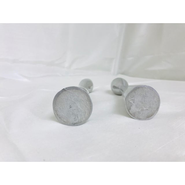 1960s Vintage Space Age Atomic Era Brush Metal Candlestick Holders- A Pair For Sale In Saint Louis - Image 6 of 9