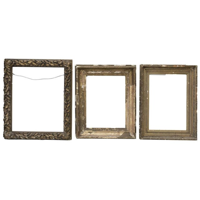 Large Distressed Antique Gold Giltwood Wood and Plaster Art Frames - Set of Three For Sale In Denver - Image 6 of 6
