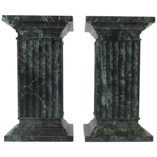Green and White Column Marble Bookends - a Pair For Sale