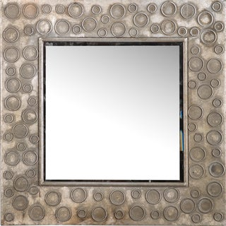 Square Silver Metal Wall Mirror For Sale