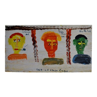 """Outsider Folk Art Painting by Robyn """"The Beaver"""" Beverland For Sale"""