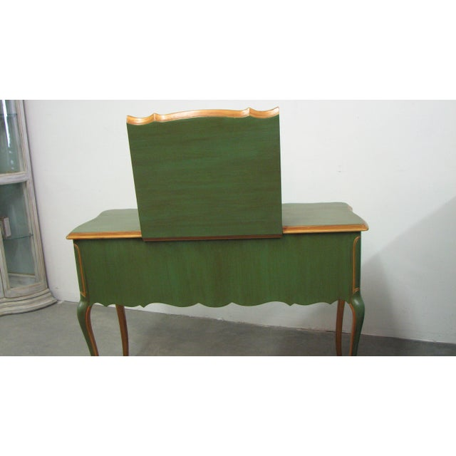 Vintage French-Style Vanity Painted Green & Gold For Sale - Image 10 of 12