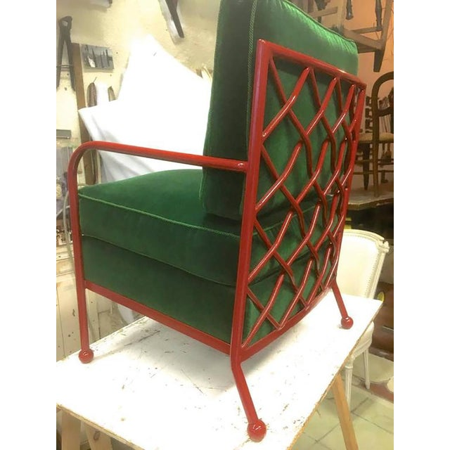 Mid-Century Modern Jean Royère Pair of Croisillon Armchairs in Red Lacquered Wrought Iron For Sale - Image 3 of 9
