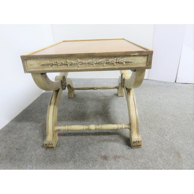 Hollywood Regency Regency Cream Carved X Base Stools- a Pair For Sale - Image 3 of 8