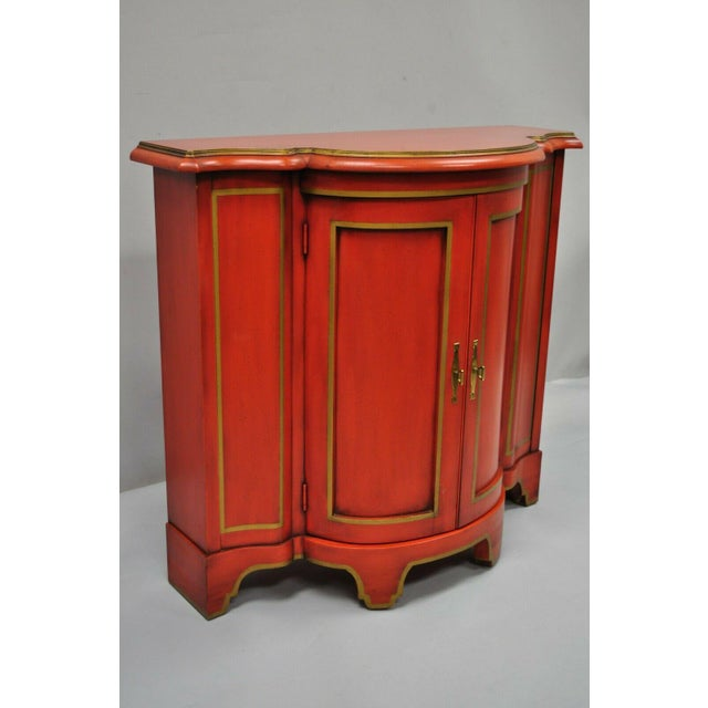 Red Lacquer Medallion Ltd Demilune Chinoiserie Georgian Credenza For Sale - Image 12 of 13