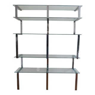 Mid-Century Chrome Milo Baughman Cantilever Wall Shelf For Sale