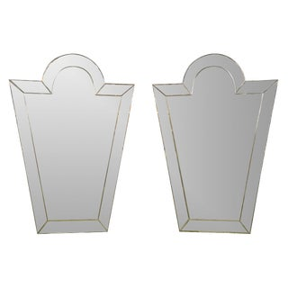 Venetian 'Key Hole' Shaped Mirrors - Pair For Sale