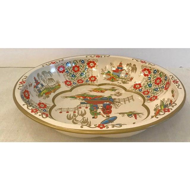 Ceramic Vintage Oriental Theme English Tin Bowl For Sale - Image 7 of 9