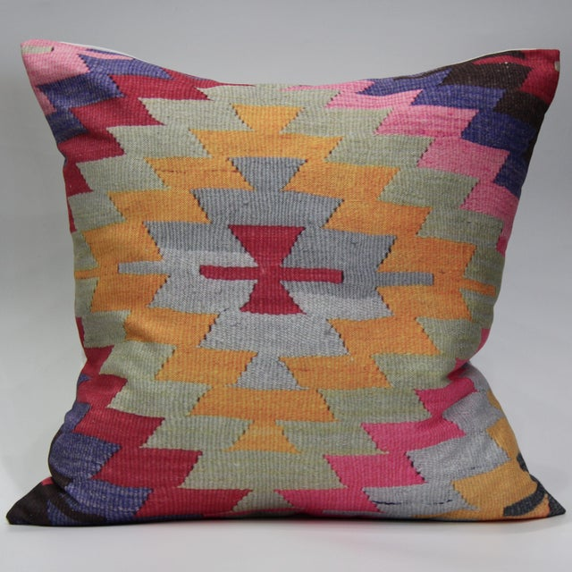 Pink Diamond Kilim Print Pillow-16'' - Image 2 of 5
