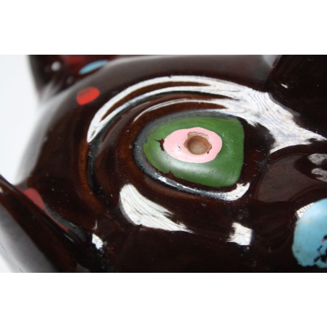 Ceramic Hand-Painted Folk Art Porcelain 'Pig' Ashtray For Sale - Image 7 of 13