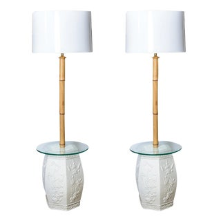 White Garden Stool & Bamboo Floor Lamps, Custom Made, A-Pair For Sale
