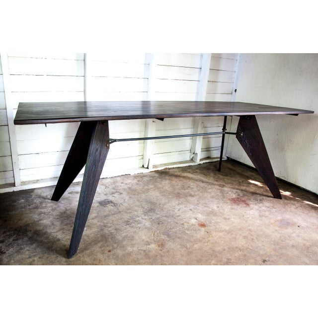 """Prouve Style Artisan Made Em Solvay Black Dining Conference Table - Black Brown 80"""" For Sale - Image 4 of 11"""
