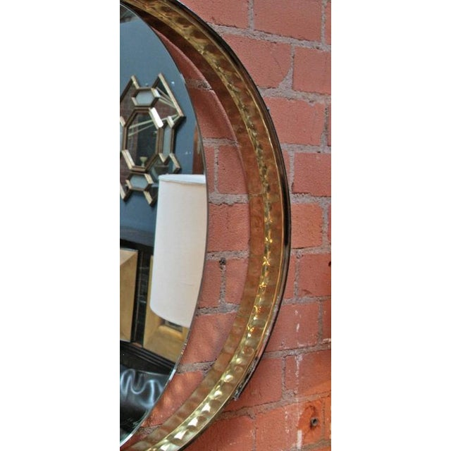 Italian Mirror with Wood and Brass Frame For Sale - Image 5 of 7
