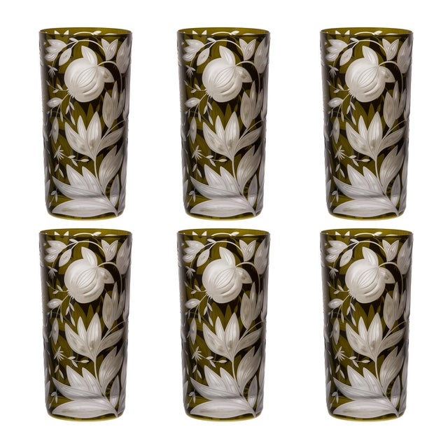 Traditional Verdure Highball Glasses Moss - Set of 6 For Sale - Image 3 of 3