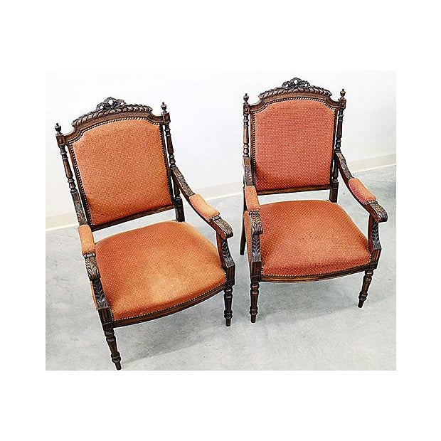 French Louis XVI Style Carved Fauteuil Armchairs- A Pair - Image 3 of 9