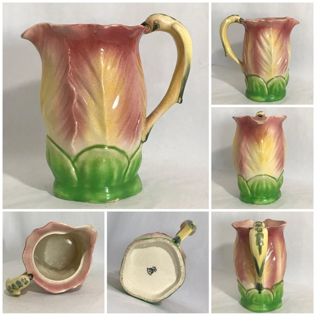 Vintage Pitcher W 5 Cups Bird Parrot Handle Hand Painted Majolica Ceramic. Made in Japan. Maker's mark on bottom. One of...