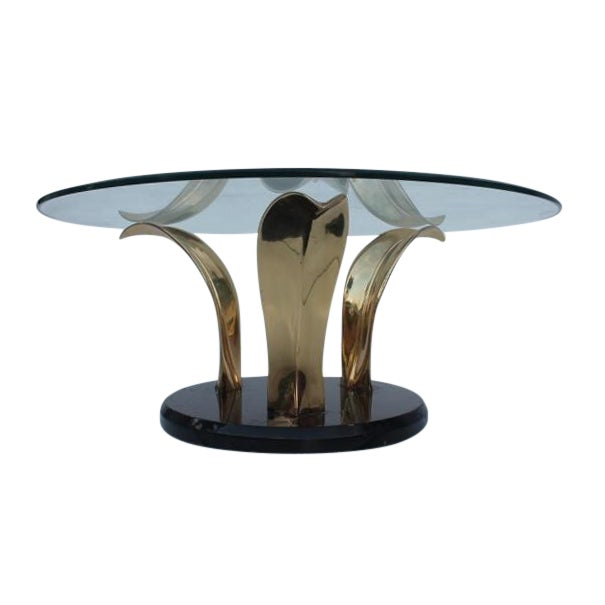 Lacquer & Brass Palm Leaf Coffee Table For Sale