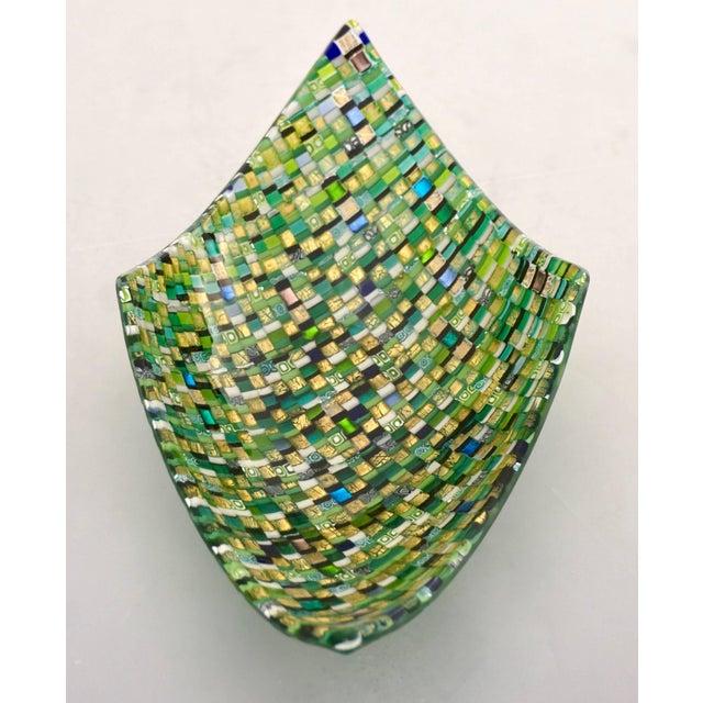 Mosaic Modern Italian Jewel-Like Green Yellow & 24Kt Gold Murano Art Glass Mosaic Bowl For Sale - Image 7 of 11