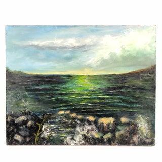 Vintage Oil on Canvas Green Seascape Signed For Sale