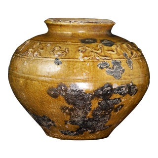 Chinese Han Molded Ochre Glazed Stoneware Pot For Sale