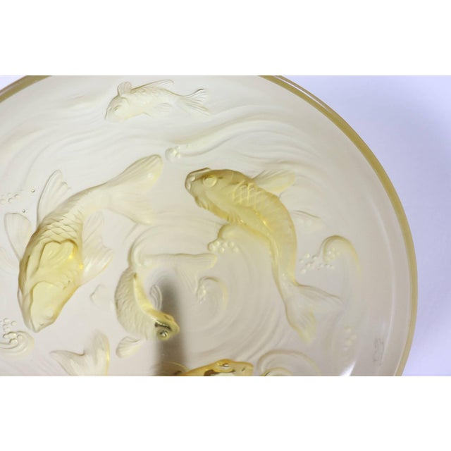Art Deco 20th Century Art Deco Verlys Glass French Plate in Amber Colored With Fishes For Sale - Image 3 of 11