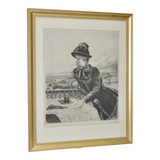 """Norbert Goeneutte (1854-1894) """"Heights of Montmarte, Paris"""" Drypoint Etching C.1885. For Sale"""