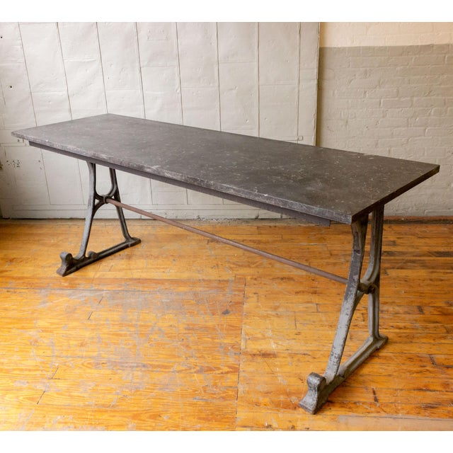 20th Century Industrial Iron Console With Marble Top For Sale - Image 11 of 11