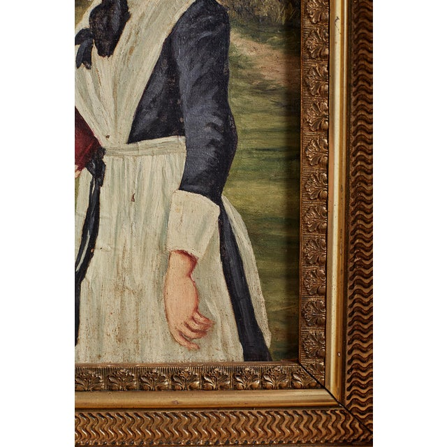 White 19th Century Folk Art Painting of a Young Girl For Sale - Image 8 of 13