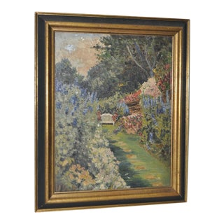 Flowering Garden Dell W/ Bench Oil Painting, 1940s to 1950s For Sale