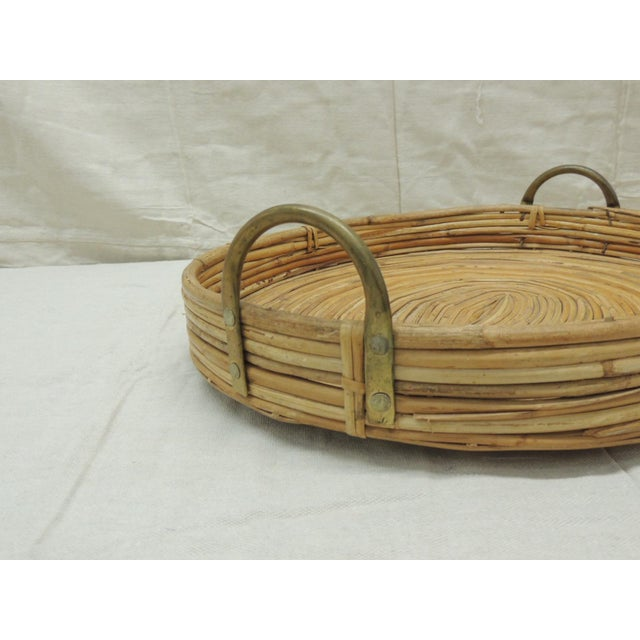 Boho Chic Vintage Bent Oval Rattan Serving Tray With Antique Brass Finished Handles For Sale - Image 3 of 7