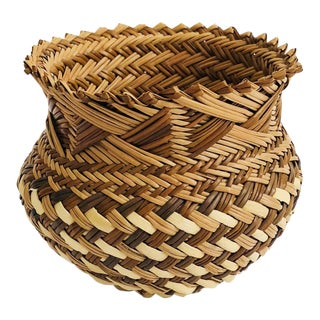 Vintage Woven Basket Vase - Brown and Tan For Sale