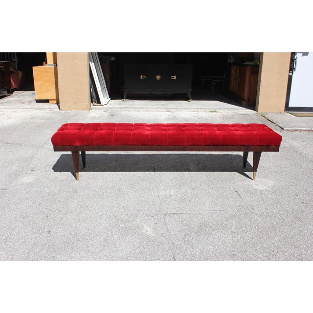 Beautiful French Art Deco Exotic Macassar Ebony Christmas Red Velvet Sitting Bench, circa 1940s. - Image 2 of 11