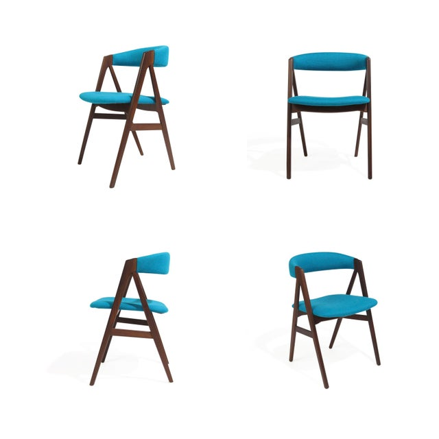 Mid Century A-Frame Danish Turquoise Wool Dining Chairs - Set of 4 For Sale - Image 9 of 9
