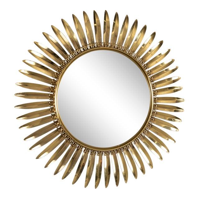 Vintage Italian Metal Starburst With Convex Mirror For Sale