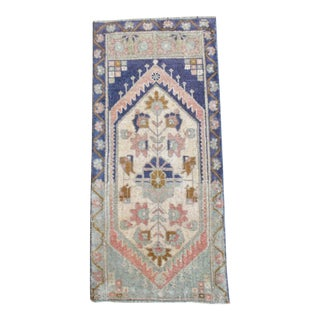 Hand Knotted Door Mat, Entryway Rug, Bath Mat, Kitchen Decor, Small Rug, Turkish Rug - 1′6″ × 3′3″ For Sale