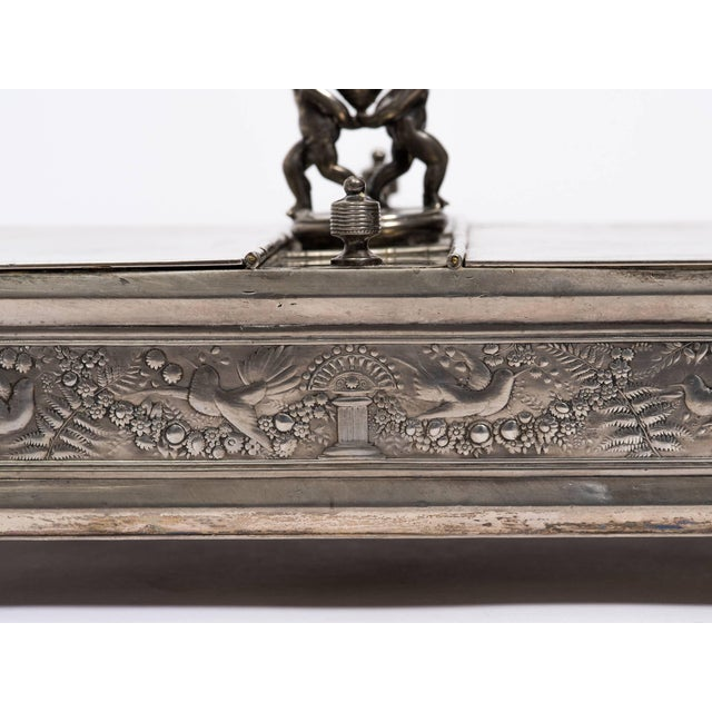 19th century silver plate letter box.