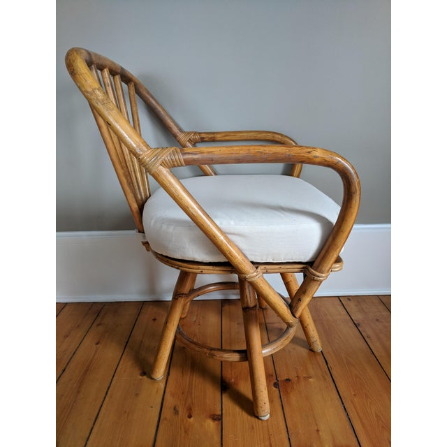 Brown Swivel Bamboo Armchairs - Set of 4 For Sale - Image 8 of 13