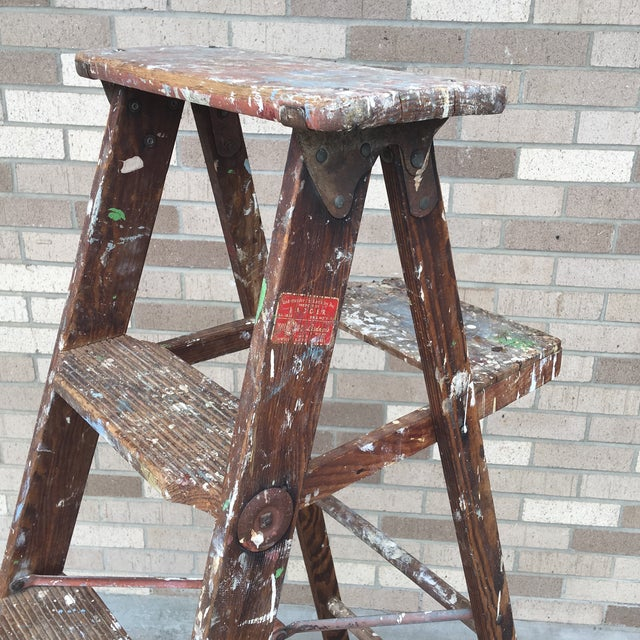 1950's Vintage Paint Splattered Painters Ladder For Sale In New York - Image 6 of 7