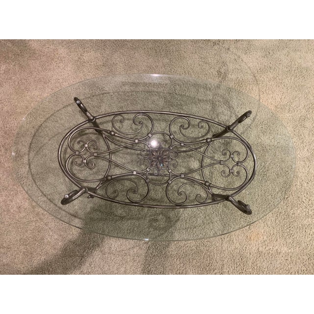Traditional Coffee Tables Ethan Allen: Traditional Ethan Allen Glass And Iron Coffee Table